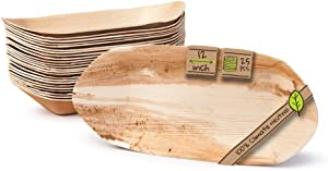 """Naturally Chic Palm Leaf Compostable Trays - 12"""" Biodegradable Disposable Eco Friendly, Bamboo Like Serving Trays for Weddings, Parties, BBQs, Events (25 Pack)"""