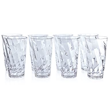Optix 20-ounce Plastic Tumblers | set of 8 Clear