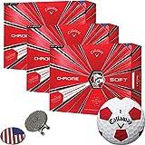 Callaway Golf 2018 Chrome Soft Turvis Red Golf Balls (3 Dozens) + 1 Custom Ball Marker Clip Set (US Flag)