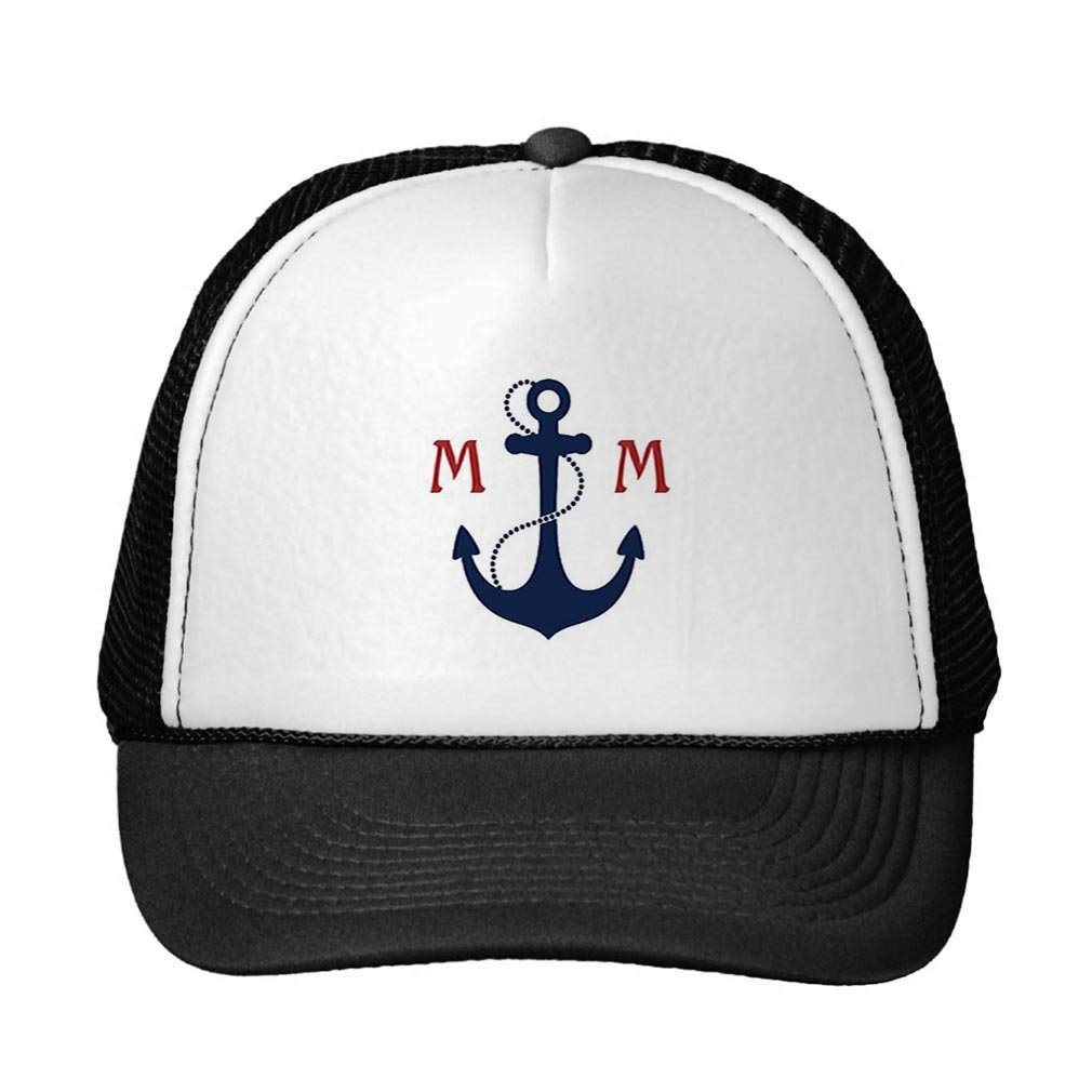 Smity 106 Nautical Monogram Trucker Hat Black