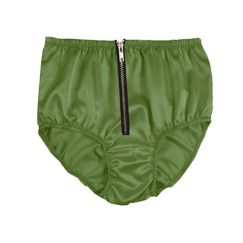 STPH03I10 Olive Green Zipper Satin Panties for Women Plus Size Briefs Underwear Handmade Men Ladies