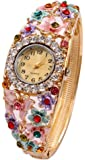 Shining Diva Fashion Luxury 18k Gold Plated Crystal Bangle Watch Bracelet for Girls and Women(Multi-Colour)(8326bw)