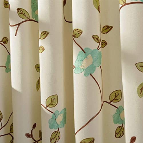WPKIRA Semi Blackout Curtains Floral Embroidered Drape