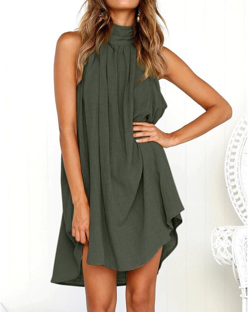 Frauen Sommor Kleid Jessboy FrauenKurzärmeliges Strandkleid aus