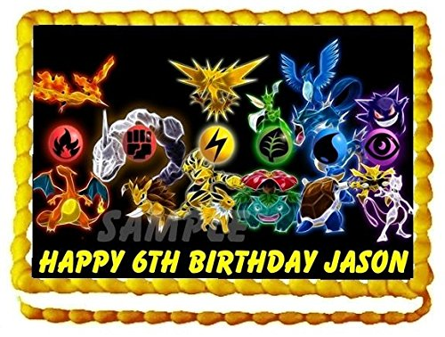 [POKEMON CAKE TOPPER EDIBLE BIRTHDAY DECORATION US SELLER] (May Costume Pokemon)