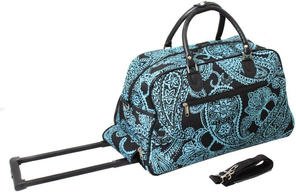 Black Blue Wheeled Duffle Bag Women Bandana Pattern Polyester