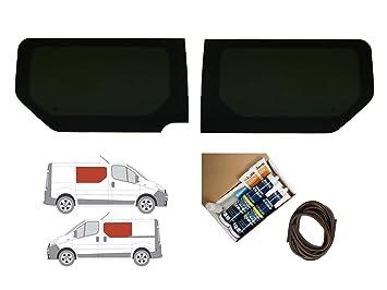 Oscuro Tint fija doble ventana lateral - Juego de montaje de radio en Opel Vivaro (02 - 14): Amazon.es: Coche y moto