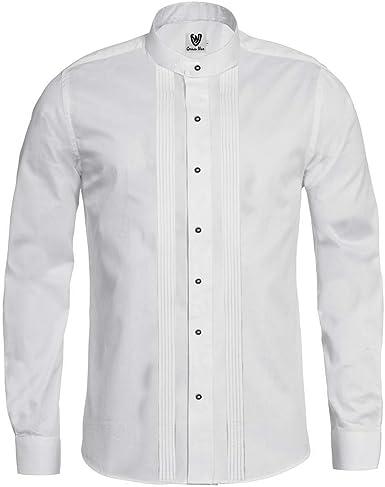 German Wear Camisa tradicional de negocios, 2 x 5, cuello alto, camisa de manga larga de algodón