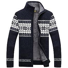 Liveinu Men's Winters Stylish Knitted Cardigan Sweater Stand Collar Snowflake Pattern Knitwear