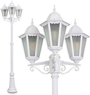 Farola Hong Kong Frost de aluminio fundido Blanco con leche Cristal – Poste para jardín de altura regulable – exteriores – IP44: Amazon.es: Iluminación