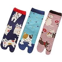 3 Pairs Women Japanese Cat Tabi Socks Kimono Clog Geta Flip Flop Sandal Slipper Socks
