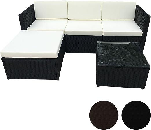 Ratán Corner Lounge Jardín Set Negro Sofá Muebles de Jardín (Polirratán, Nuevo: Amazon.es: Jardín
