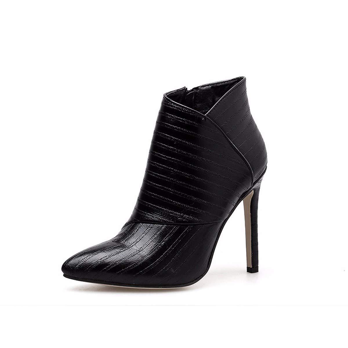LBTSQ-Mode Damenschuhe Spitz Dünn Und Ferse Mit Hohen 11Cm Kurze Stiefel Mode Wild Stiefel Nackt - Stiefel.
