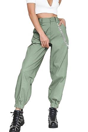 économiser jusqu'à 60% couleur rapide magasiner pour véritable Pantalons Femme en Vrac Jogger Hip Hop Pantalon Cargo avec Chaîne