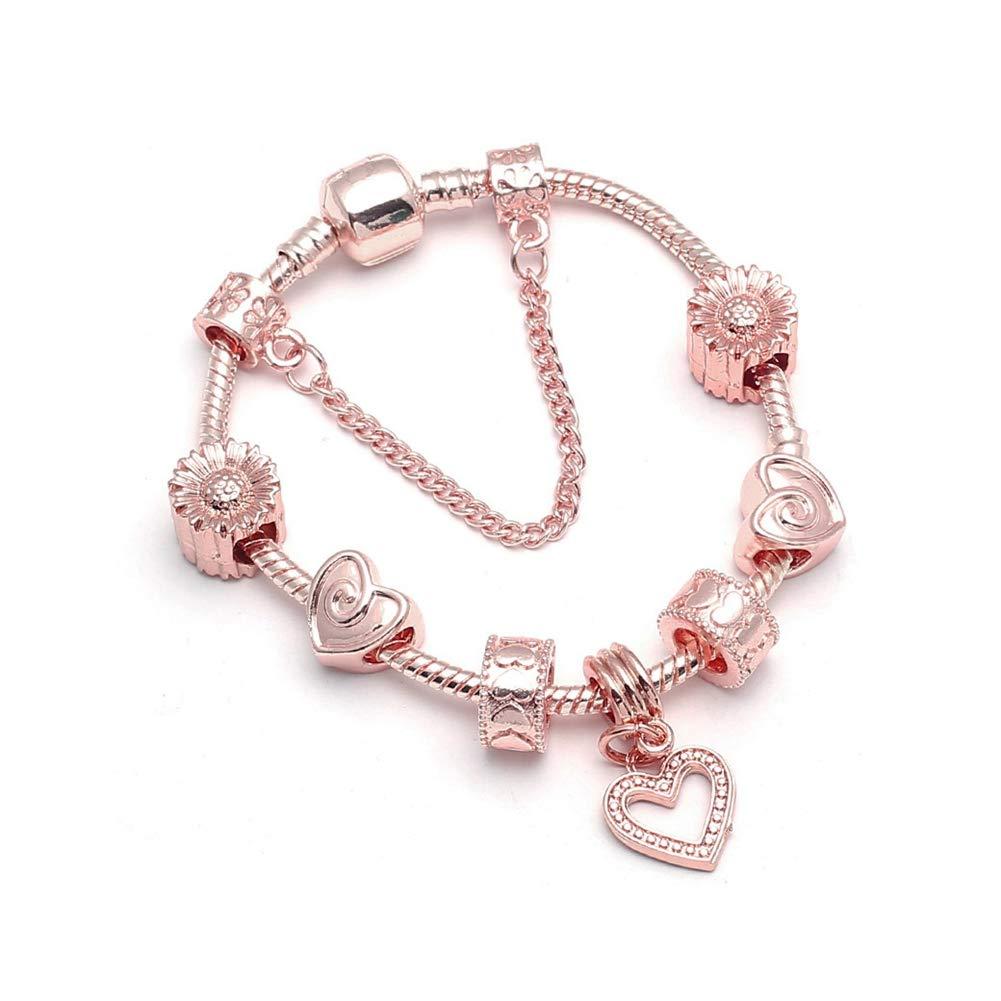 YUSM Love Heart Crystal Beads Charm Bracelets /& Bangles Snake Chain Fine Bracelets for Women Jewelry Pulseiracharm Bracelets for Women Kit Mom