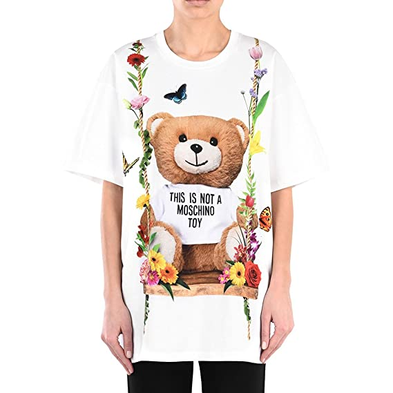 c3fd6fae Moschino Floral Teddy Printed T-Shirt: Amazon.co.uk: Clothing