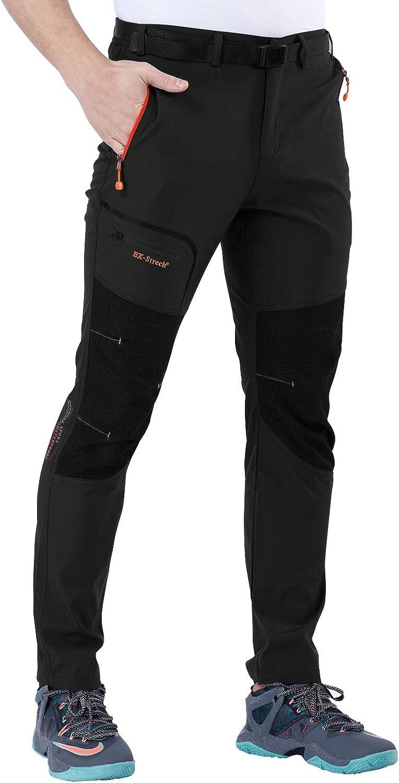 SANMIO Pantalones de Hombre, Impermeables + a Prueba de Viento + Transpirables + Cálidos + Pantalones de Invierno con Forro Elástico Pantalones Exteriores de Trekking Engrosados con Cinturón