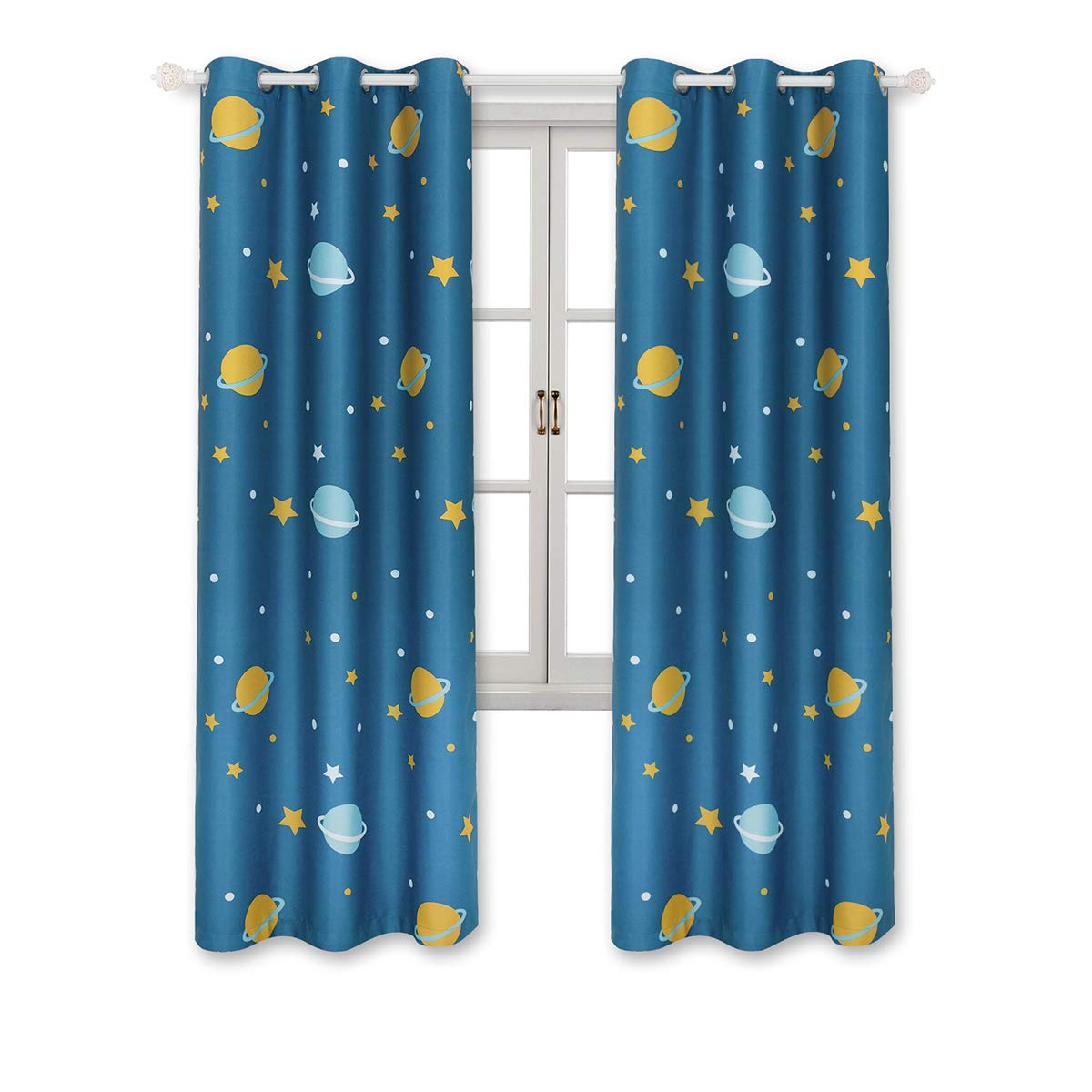 BGment Blackout Planet and Star Curtains - Cute Planet Printed Curtains for Bedroom Living Room - 2 Panels 42Wx63L with 6 Grommets