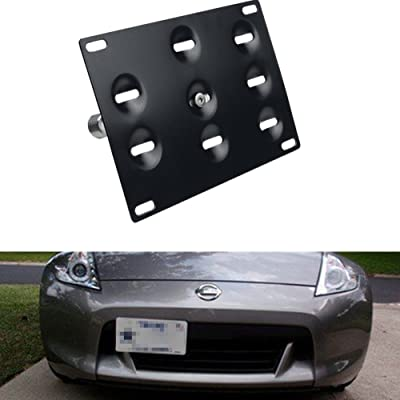 DEWHEL JDM Front Bumper Tow Hook License Plate Mount Bracket Holder Tow Hole Adapter Bolt On for Nissan 370Z Juke GT-R Infiniti G37/Q60 Coupe: Automotive