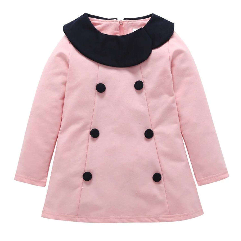 Printemps Toddler infantile bébé filles chaudes Botton Bowknot robe solide tenue vêtements