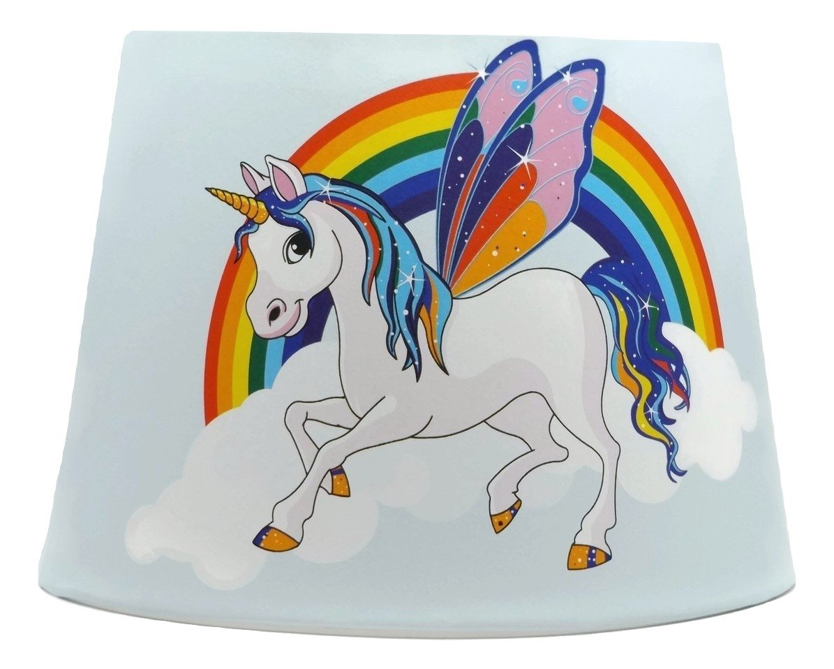 Unicorn lampshade or ceiling light shade horses pony rainbow unicorns girls themed bedroom nursery accessories gifts toddler baby light blue 9 5 dual