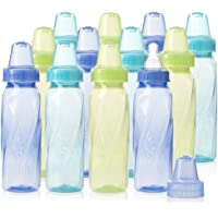 Evenflo Feeding Classic Tinted Plastic Standard Neck Bottles for Baby, Infant and Newborn - Teal/Green/Blue, 8 Ounce…