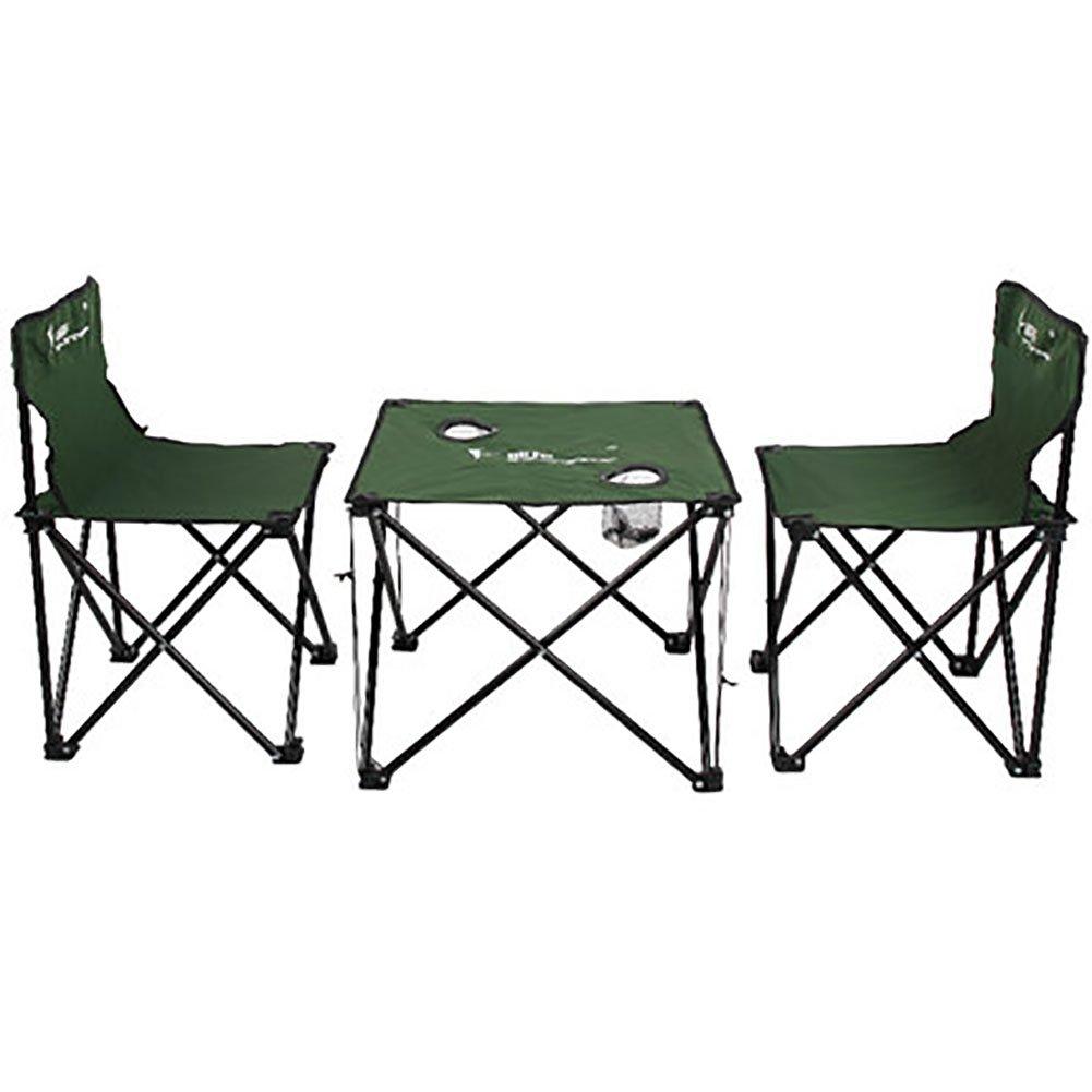 KOKR Klapptisch (70X70x70cm) + 2 X Campingstühle, Gartenmöbel Campinggarnitur Tisch- und Stuhlset