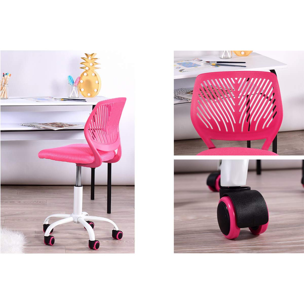 FunitureR Kids Study Chair Armless Swivel Desk Chairs Plastic Colorful Wheels-Pink V1