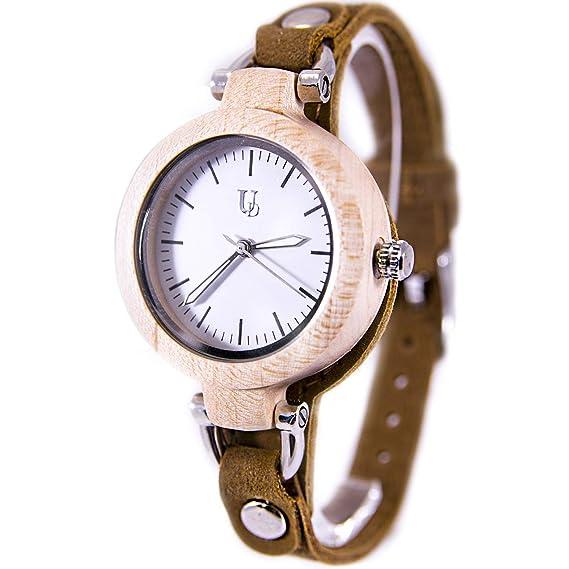 Relojes de Madera para Mujer con Correa de Piel auténtica, Regalo para Ella: Amazon.es: Relojes