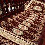 KEYAMA Acrylic Set of 15 Indoor Floral/Flowers Bullnose Carpet Stair treads Free Tape Non-Slip Stair Carpet Treads Carpet Staircase Decorative Area Rugs 9'W x 31'L Brown 059
