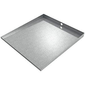 """32"""" x 30"""" Stainless Front-load Washer Tray with Drain (Galvanized Steel)"""