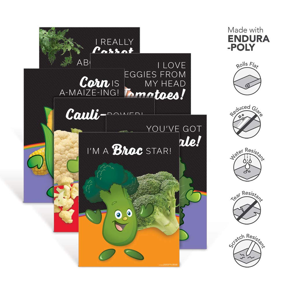 School Nutrition Posters | Learning ZoneXpress Vegetable Garden Heroes Endura-Poly Poster Set | 18'' x 24'' Endura-Poly Posters | Set of 6 Posters