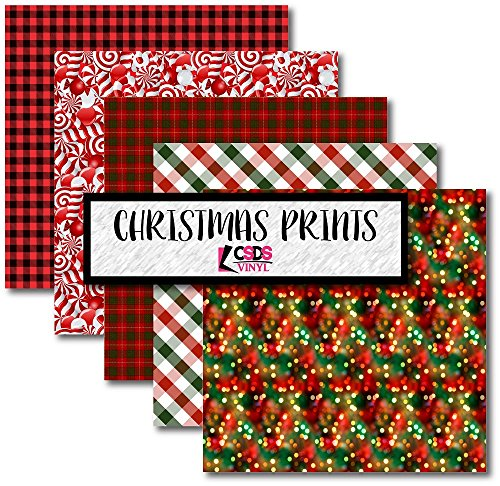 Christmas Printed Adhesive Vinyl Bundle Pack CSDS Vinyl Christmas Craft Vinyl Holiday Heat Transfer Vinyl Christmas Candy Patterned Vinyl Red and Green Christmas HTV (Adhesive - Patterned Christmas