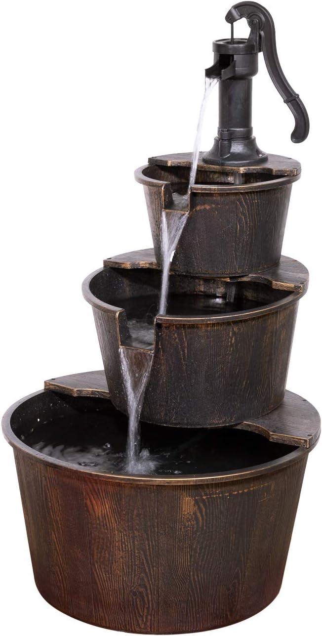"Alpine Corporation TEC234BR Alpine 3-Tier Rustic Outdoor Waterfall for Garden, Patio, Deck, Porch-Yard Art Decor Pump Barrel Fountain, 41"", Beige"