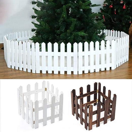 Valla Decorativa de Madera para árbol de Navidad, jardín, césped, Mascotas, 30 cm de Alto, 1, 2 m de Largo, Blanco: Amazon.es: Jardín