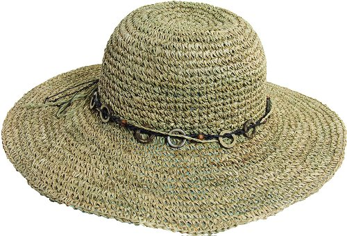 ted Seagrass Hat With Wood Trim, Natural, One Size (Twisted Seagrass Straw Hat)