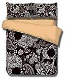 QzzieLife Unique Skull Duvet Cover Set 3D Paisley Floral Pattern Soft Microfiber Queen Size Black