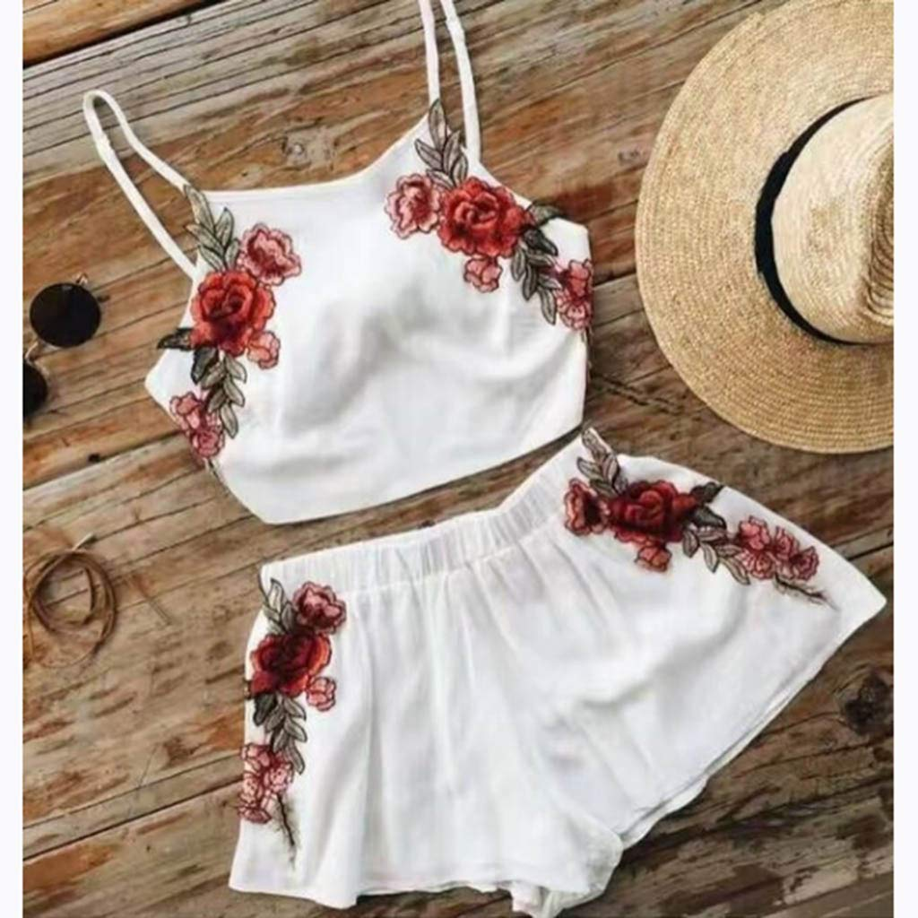 2 pcs Set Black Top and Shorts Embroidery Floral Pattern UK 8-10