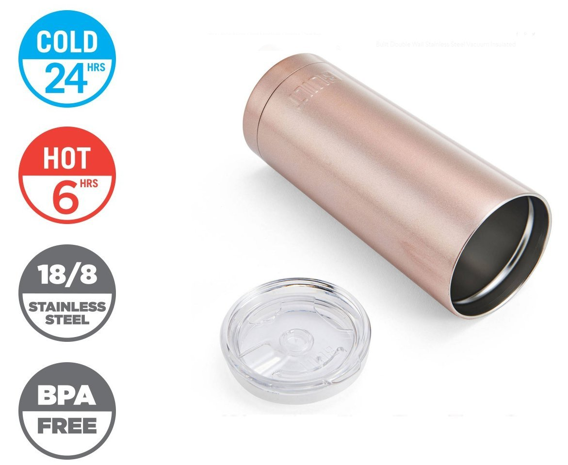 Built Double Wall Stainless Steel Vacuum Insulated Tumbler 20 Oz Rose Gold