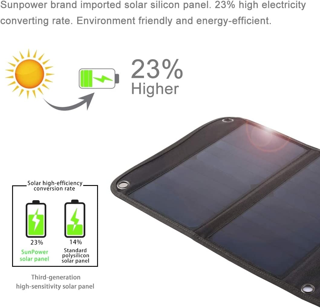 Mobile Gimbal Switch Adapter 21W Foldable Solar Panel Charger with 5V 2.9A Max Dual USB Ports
