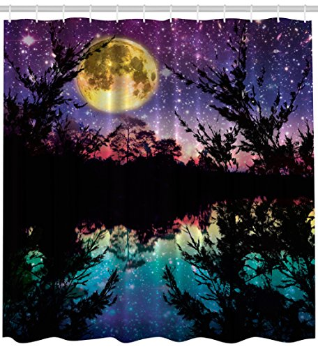 Fabric Shower Curtain Nature Artwork Decor by Ambesonne, Lake at Moon Light Stars Sky and Trees Water Reflection Contemporary Modern Theme, Purple Yellow Fuchsia Black Teal Blue Dark Colors - Galaxy Curtains