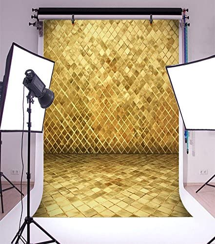 LFEEY 5x7ft Polyester Gold Shining Diamond Phombus Pattern Backdrop for Portrait Kids Girls Adults Photo Booth Photocall Golden Photography Background Studio Props No Wrinkle