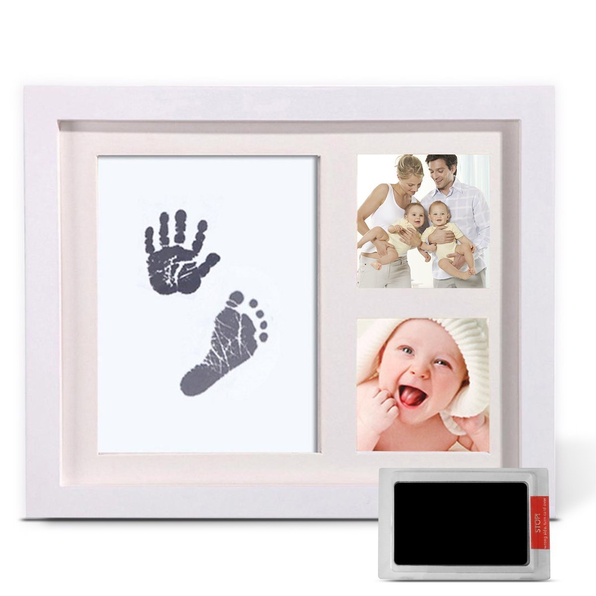 Baby Handprint & Footprint Photo Frame Kit with Without Ink-Touch Safe Newborn Baby Handprints Ink Pad for Newborn Girls and Boys