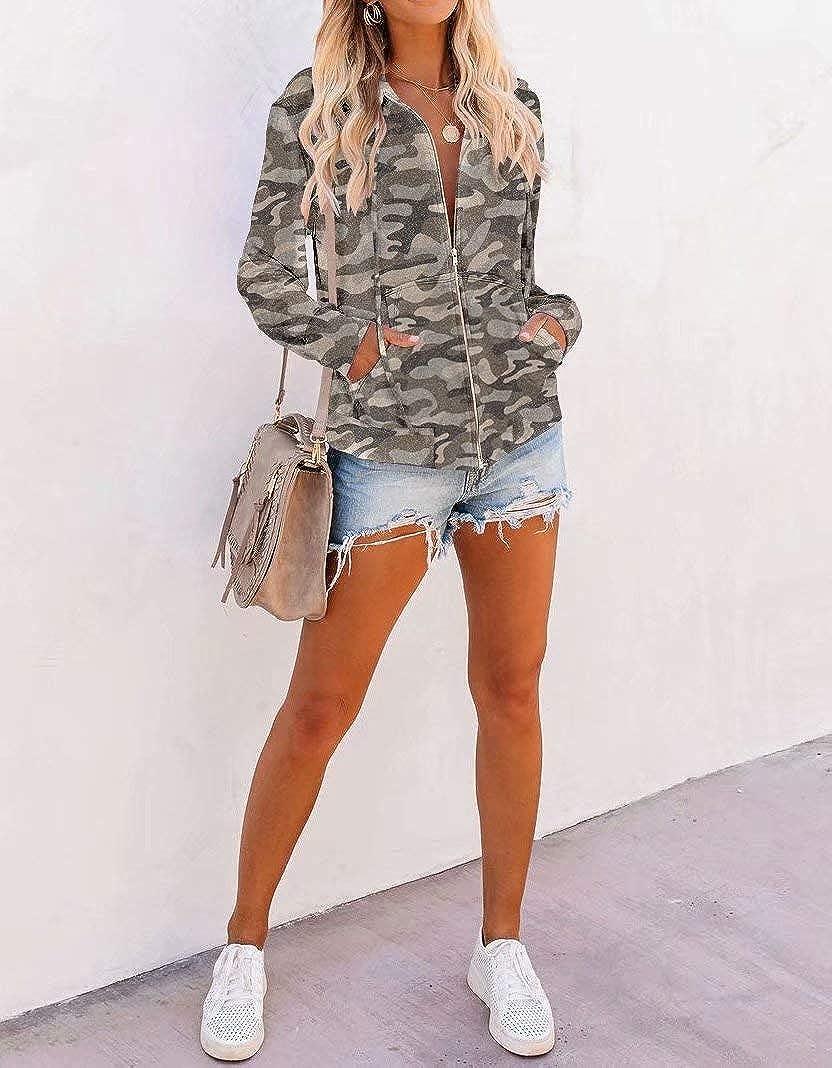 INFITTY Women Long Sleeve Zip Up Hoodie Jacket Lightweight Hooded Sweatshirt Loose Fitting Tops