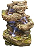 14'' Olympia Log Fountain w/LED Lights: Rain Forest Log Outdoor/Indoor Water Feature for Tabletops, Gardens & Patios. Hand-crafted Design. HF-L09-14LT