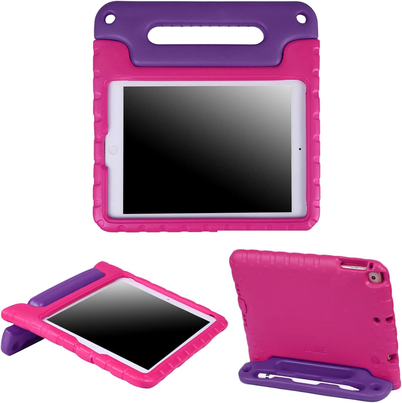 HDE iPad 6th Generation Case for Kids iPad 9.7 inch 5th and 6th Generation Cases for Kids Shock Proof Protective Light Weight Cover with Handle Stand for Apple iPad 9.7 with Pencil Holder Pink Purple