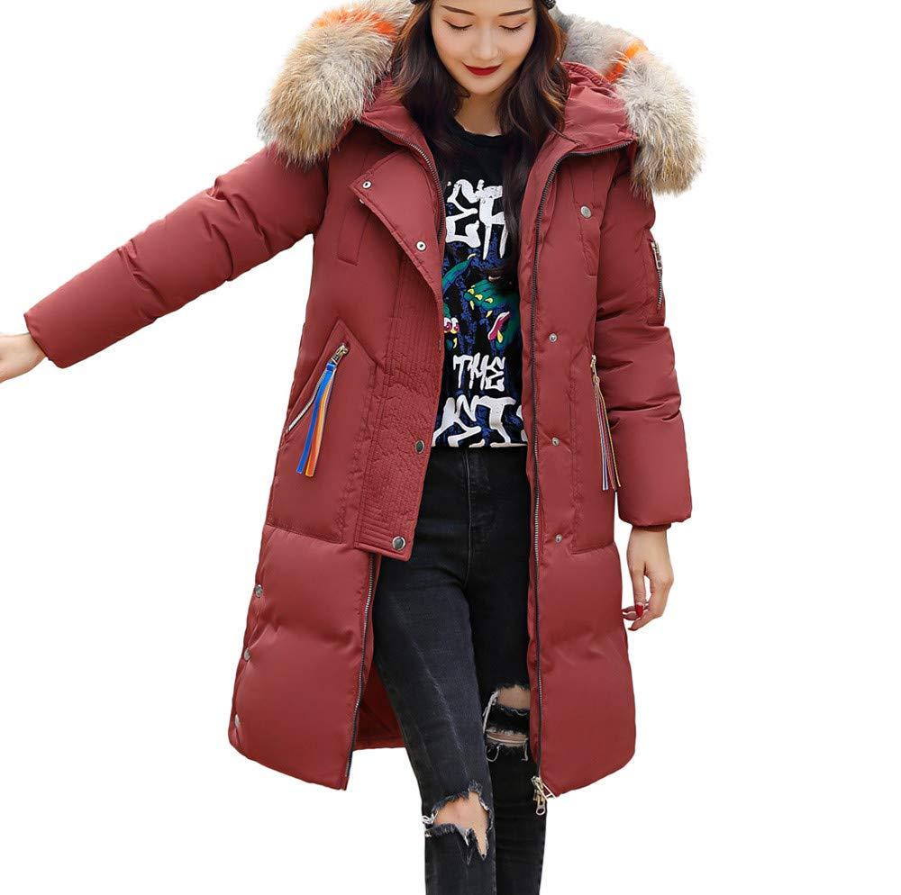 BETTERUU UFACE Women Winter Warm Faux Fur Coat Hooded Thick Warm Slim Long Jacket Overcoat