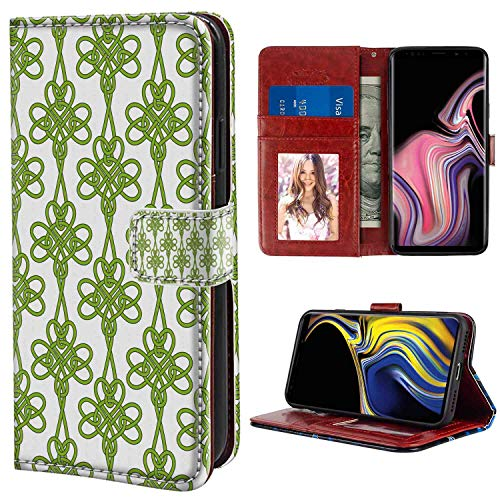 Irish Entangled Clover Leaves Twigs Celtic Pattern Botanical Filigree Inspired Retro Tile Green Cream Samsung Galaxy Note 9 (2018) (6.4inch) Wristlet Wallet Case for Girl Case