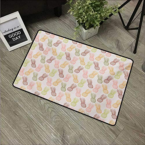 HRoomDecor Pineapple,Anti-Slip Doormat Pineapples in Various Angles Exotic Natural Fruit Themed Vintage Sketch Pattern W 20