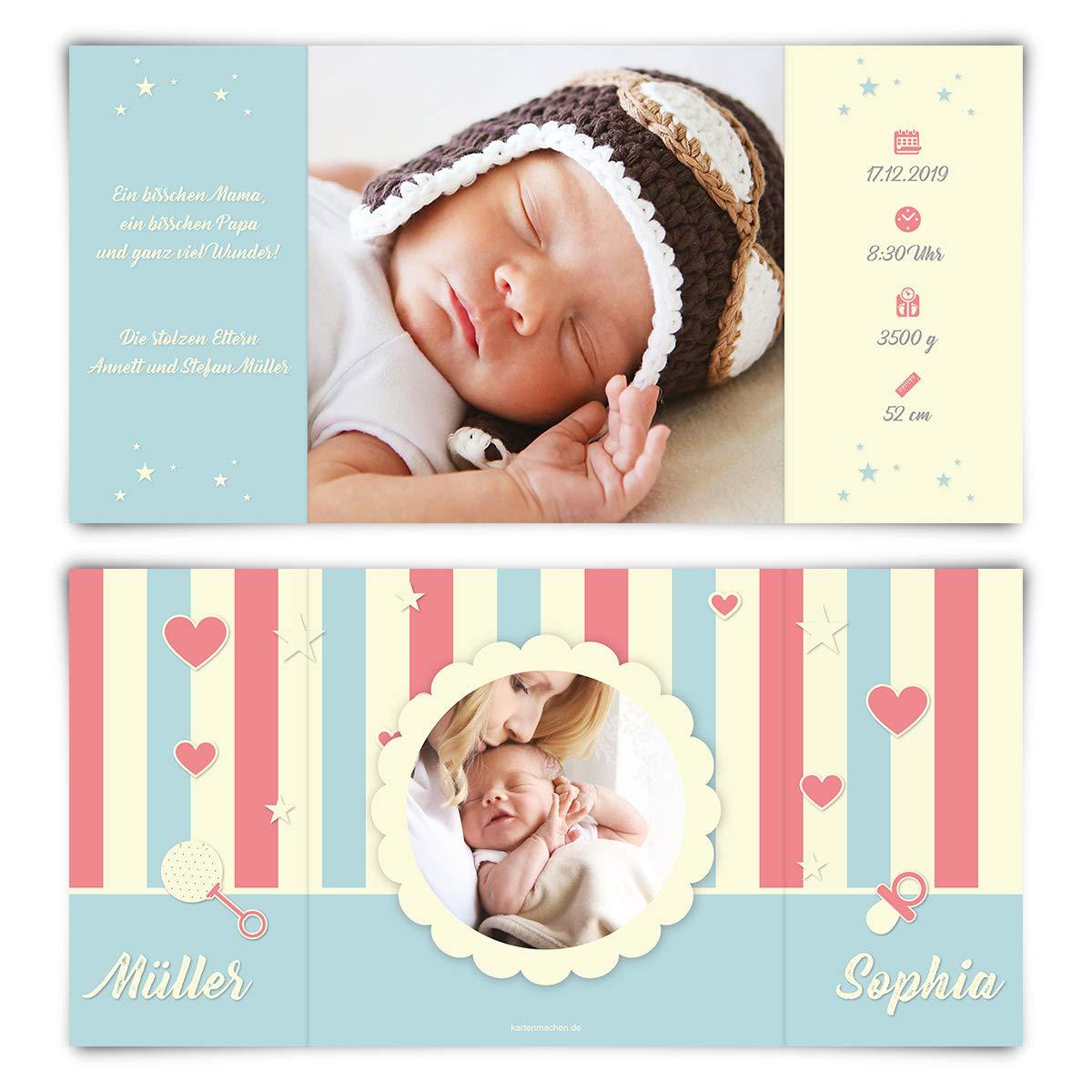 60 x Geburt Danksagungskarten Geburtskarten individuell mit mit mit Foto und Text für Mädchen und Jungen - Fröhlichkeit B07N1213SN   Schön und charmant    Zarte    Heißer Verkauf  d8b706